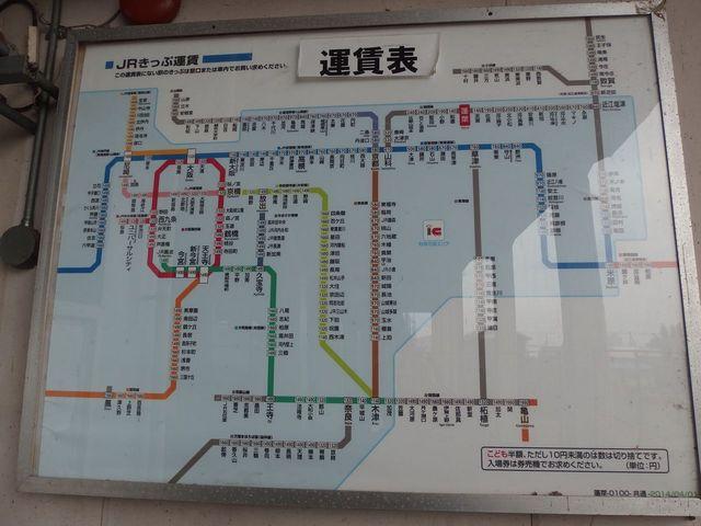 JR湖西線 蓬莱駅の運賃表
